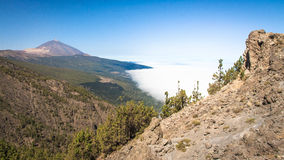 Teide mount over the clouds stock photo