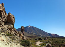 Teide Mount and Roque Cinchado Stock Photo