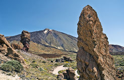 Teide Mount seen from Los Roques. View point with the vertical rock at foreground, National Park, Tenerife Island, Canary, Spain Royalty Free Stock Images