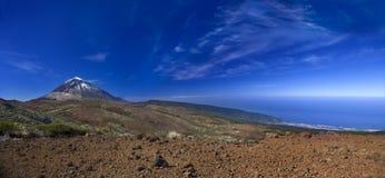 Teide Mountain Blue. Mount Teide with Puerto De La Cruz and the Atlantic ocean stock photography
