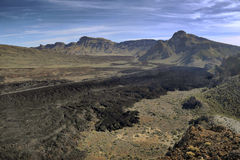 Teide national park. Volcanic landscape with lava flows in Teide national park on Tenerife island Royalty Free Stock Photos