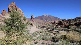 Teide National Park Roques de Garcia in Tenerife at Canary Islands stock video