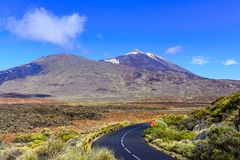 Teide National Park, Tenerife, Canary Islands, Spain - Road lead. Teide National Park, Tenerife, Canary Islands, Spain - Beautiful landscape of a road leading to royalty free stock photos
