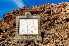 Teide National Park, Tenerife, Canary Islands - Tourist informational sign depicting the Montana Blanca hiking trail of the Teide Stock Photography