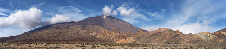 Teide national park, volcanic landscape panorama, Tenerife, Canary island, Spain. Stock Image