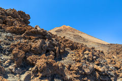 Teide Peak Behind Rocks Royalty Free Stock Photos