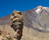 Teide And Roque Cinchado in Tenerife, Spain Royalty Free Stock Photo