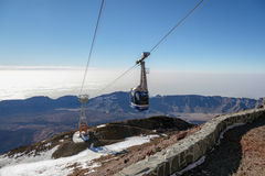 TEIDE, TENERIFE/SPAIN - 24. FEBRUAR: Drahtseilbahn, zum von Teide I anzubringen Lizenzfreie Stockbilder