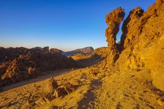 Rocks on the Teide volcano in the light of the rising sun Royalty Free Stock Photography