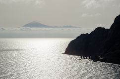 Teide volcano in Tenerife seen from La Gomera island. Canary isl royalty free stock images