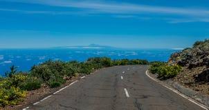Teide volcano viewed from La Palma. Road Stock Photography
