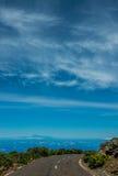 Teide volcano viewed from La Palma. Road Royalty Free Stock Photos