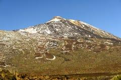 Teide vulkan med lavaflöden Arkivbilder