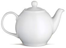 Teiera bianca del POT del tè della porcellana su una priorità bassa bianca Fotografie Stock Libere da Diritti