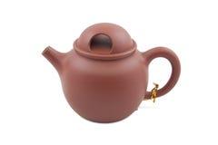 Teiera di ceramica del Brown Immagini Stock