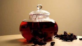 Teiera di filatura con il tè rosso del karkade video d archivio