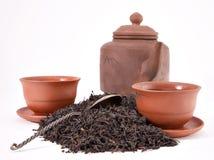 Teiera di una tazza il cucchiaio ed il tè Fotografia Stock Libera da Diritti