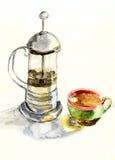 Teiera e tazza Fotografia Stock