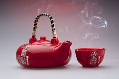 Teiera e tazza cinesi Fotografia Stock Libera da Diritti