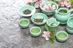Teiera e tazze con i fiori della mela della molla Cerimonia di tè Immagini Stock Libere da Diritti