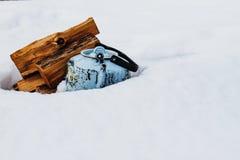 Teiera su neve Immagini Stock Libere da Diritti