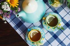 Teiera, tè verde con il limone nelle decorazioni delle tazze, della camomilla e della menta Fotografie Stock Libere da Diritti