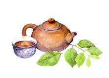 Teiera, tazza di tè e foglie verdi d'annata giapponesi watercolor Fotografia Stock Libera da Diritti