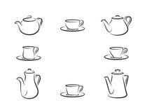 Teiere e tazze di tè Fotografie Stock Libere da Diritti