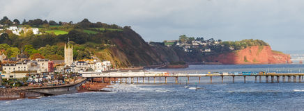Teignmouth Devon England. Overlooking Teignmouth seafront and pier photographed from Shaldon Devon England UK Europe royalty free stock photo