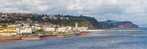 Teignmouth Devon England. Overlooking Teignmouth seafront and pier photographed from Shaldon Devon England UK Europe stock photos