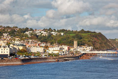 Teignmouth Devon England. Overlooking Teignmouth seafront and pier photographed from Shaldon Devon England UK Europe Royalty Free Stock Photos