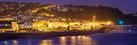 Teignmouth på natten Devon England Royaltyfri Bild