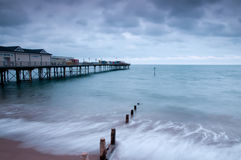 Teignmouth Pier and Groynes Stock Images