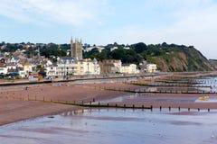 Teignmouth stad och strand Devon England royaltyfri fotografi