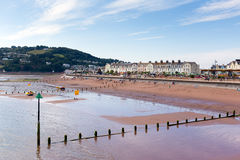 Teignmouth stad och strand Devon England royaltyfri bild