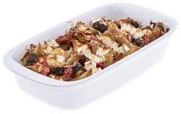 Teigwaren Bake lokalisiert auf Weiß stockfoto