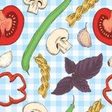 Teigwaren-, Bohnen-, Kraut-und Tomaten-nahtloses Muster vektor abbildung
