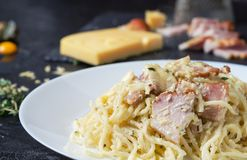 Teigwaren Carbonara mit Speck, Basilikum und Käse Stockfotografie