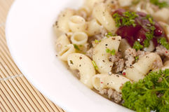 Teigwaren Fiottarini (Teigwaren mit gebratenem Fleisch) Lizenzfreies Stockbild