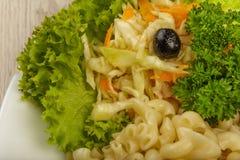 Teigwaren mit einem Stück gegrilltem Fleisch und Salat lizenzfreies stockfoto