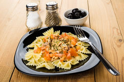 Teigwaren mit Hühnerfleisch und -tomaten in der Platte, Salz, Pfeffer Lizenzfreies Stockbild