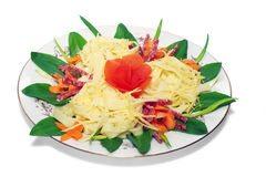 Teigwaren mit Käse, Salami, Tomaten, getrennt Lizenzfreies Stockfoto