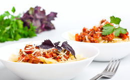 Teigwaren mit von Bolognese Soße lizenzfreies stockfoto