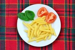 Teigwaren, Tomaten und Spinat auf der Platte lizenzfreies stockbild