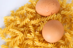 Teigwaren und Eier Stockfotografie
