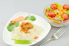 Teigwaren und Salat Stockfotografie