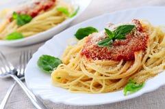 Teigwaren und Tomatensauce Lizenzfreies Stockfoto