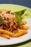 Teigwarenmahlzeitnahaufnahme von Bolognese stockfoto
