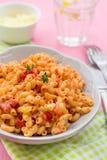 Teigwarenmakkaronis stortini coquillettes mit Tomate und Käse sau Lizenzfreie Stockbilder