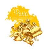 Teigwarenvektorplakat für italienisches Restaurant Stockfotografie